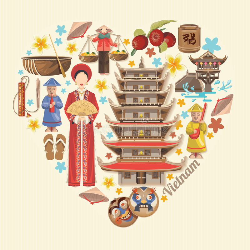 Lopp till Vietnam Hjärtaform med vietnamesiska symboler vektor illustrationer