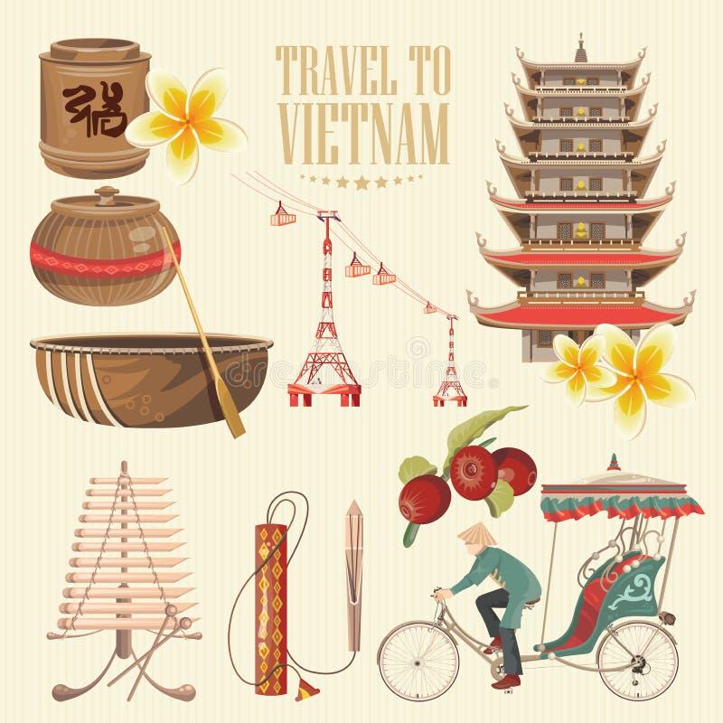 Lopp till Vietnam Uppsättning av traditionella vietnamesiska kulturella symboler vektor illustrationer