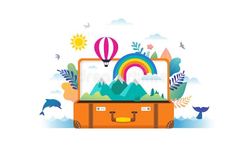 Lopp, turism, affärsföretagplats med den öppna resväskan, sidor, regnbåge och miniatyrfolk, modern plan stil vektor stock illustrationer