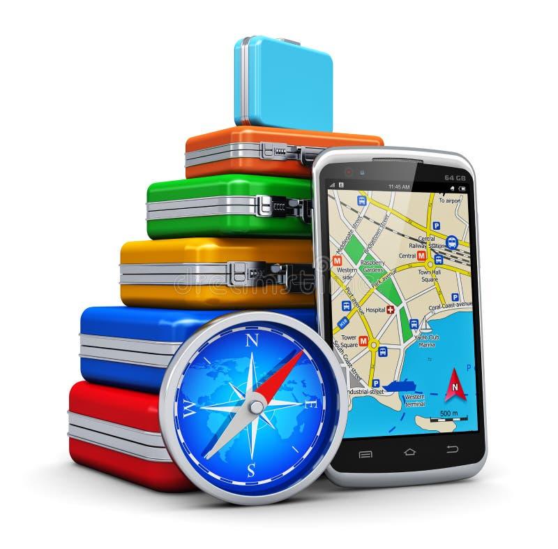 Lopp, turism och GPS navigeringbegrepp vektor illustrationer