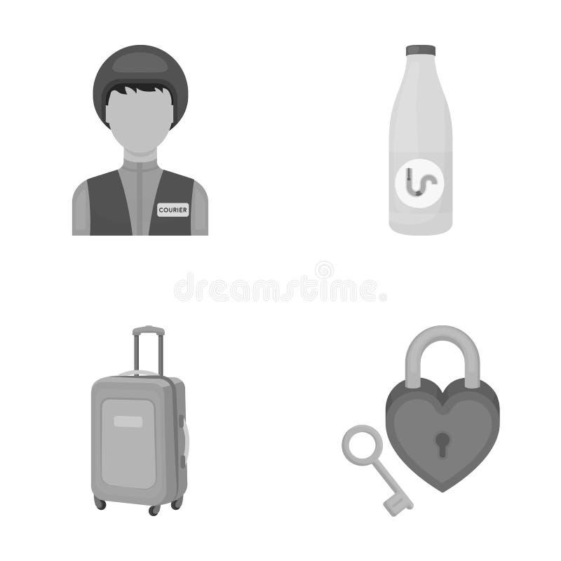 Lopp, turism, yrke och annan rengöringsduksymbol i monokrom stil , tangent, hjärta, förhållande, symboler i uppsättningsamling royaltyfri illustrationer
