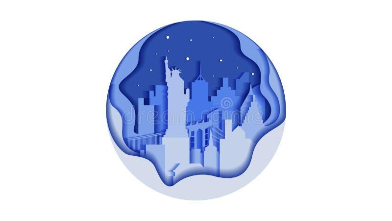 Lopp USA för land för stad för stad för monument för byggnader för arkitektur för stil för lägenhet för symbol för cirkel för vek royaltyfri illustrationer