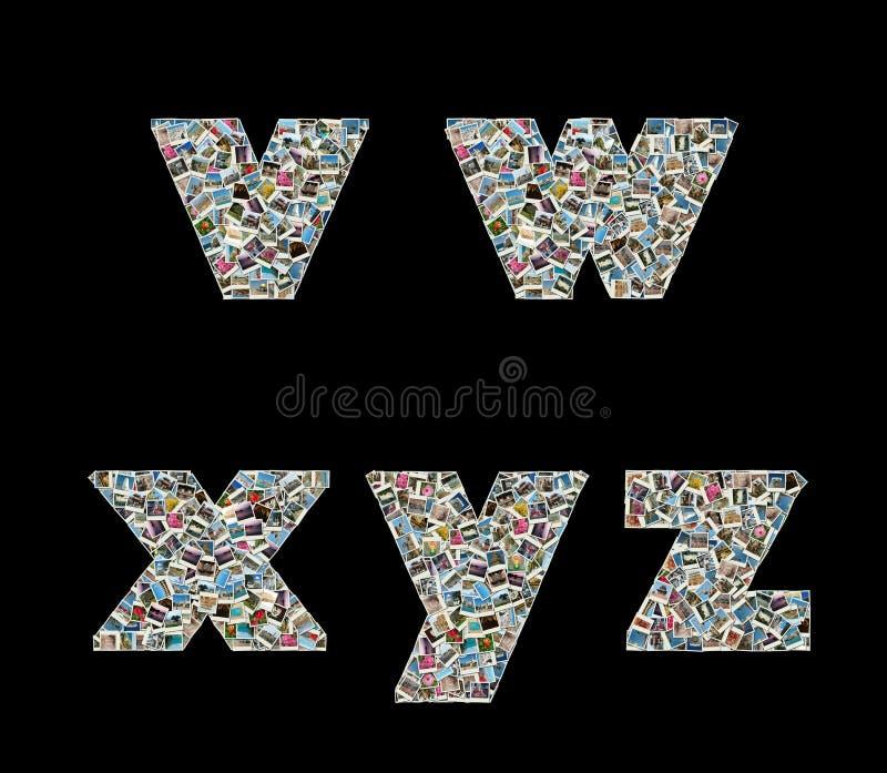 lopp v för collageliterasfoto w x y z royaltyfri illustrationer