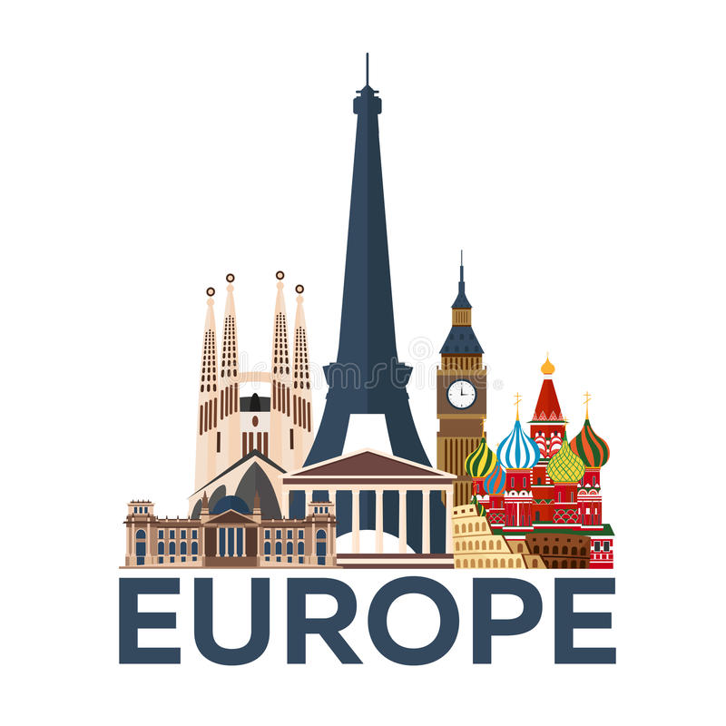 Loppaffisch Europa semester Tur till landet Resande illustration plant modernt vektor illustrationer