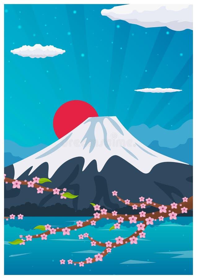 Loppaffisch till Japan Plan illustration för vektor royaltyfri illustrationer