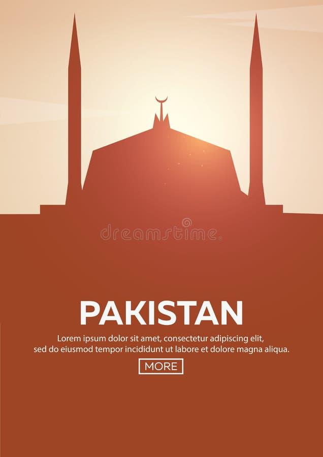 Loppaffisch till Pakistan Gränsmärkekonturer också vektor för coreldrawillustration stock illustrationer