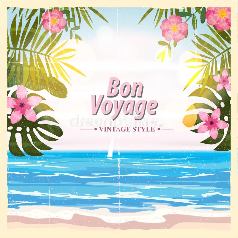 Loppaffischbegrepp Ha den trevliga turen - Bon Voyage Utsmyckad tecknad filmstil Tropiska blommor för gullig retro tappning baner stock illustrationer
