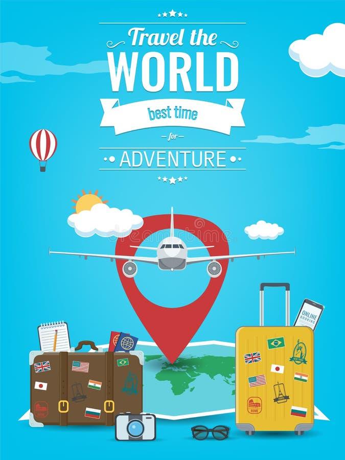 Loppbakgrund med bagage, flygplanet, världskartan och annan utrustning Lopp- och turismbegrepp vektor stock illustrationer