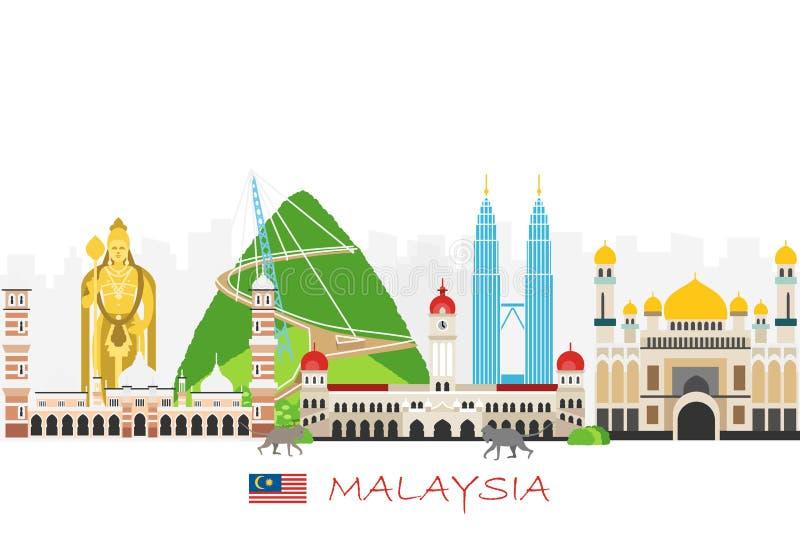 Loppbakgrund med gränsmärken av Malaysia stock illustrationer