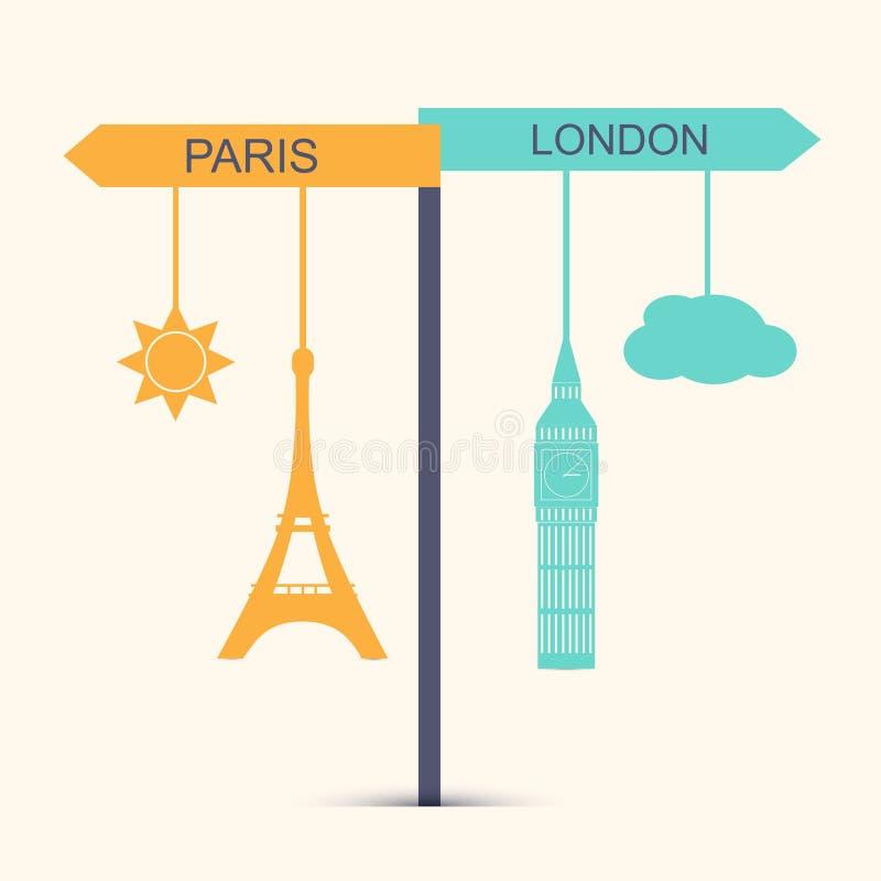 Loppbaner Begrepp av valet mellan London och Paris vektor illustrationer