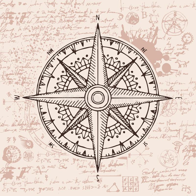 Loppbaner med en rosa och gammal kompass för vind vektor illustrationer