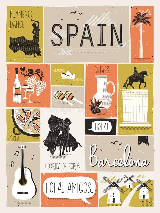 Loppbegrepp av Spanien royaltyfri illustrationer