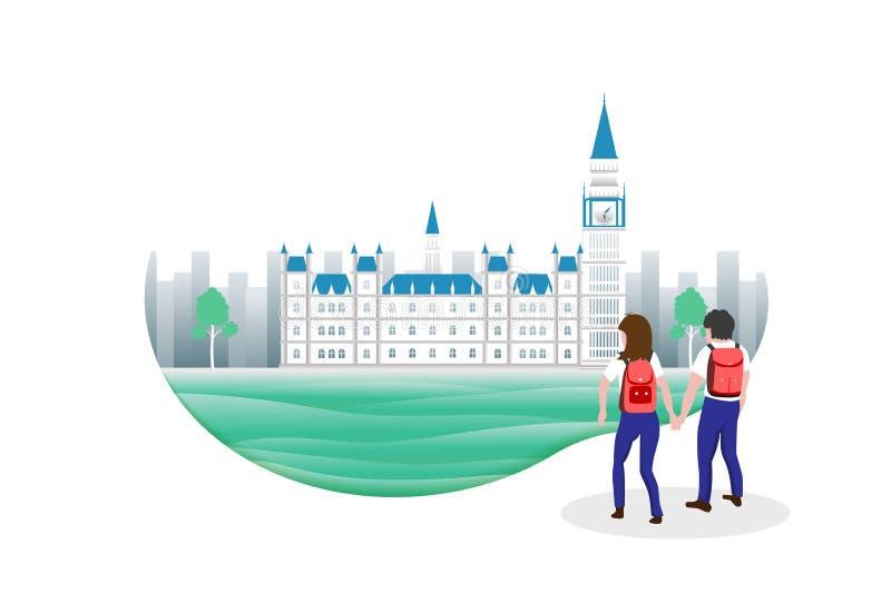 Loppbegrepp, män och kvinnaturister som går i England stock illustrationer
