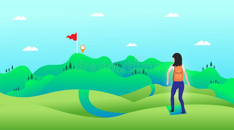 Loppbegrepp, resan in mot destinationsarbetet på en färgrik bakgrund stock illustrationer