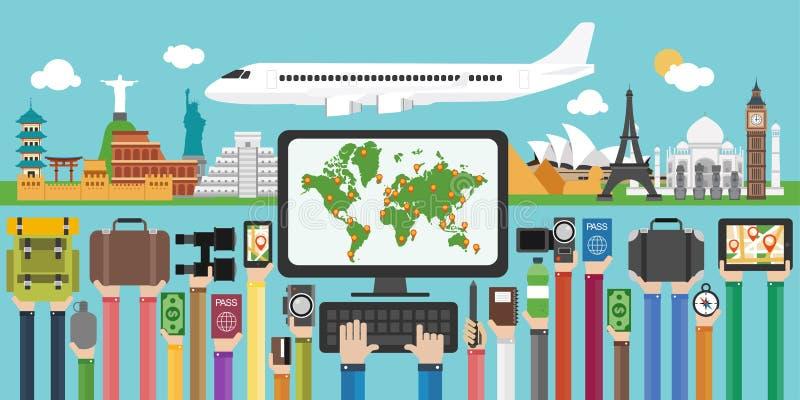 Loppdesignlägenheten runt om världen, semestrar flyg vektor illustrationer