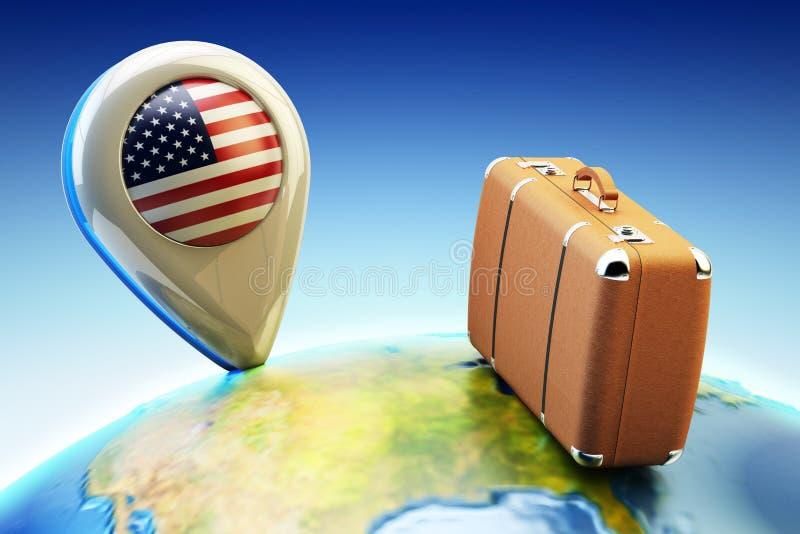 Loppdestination och globalt turismbegrepp stock illustrationer
