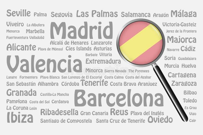 Loppdestinationer av det Spanien begreppet vektor illustrationer