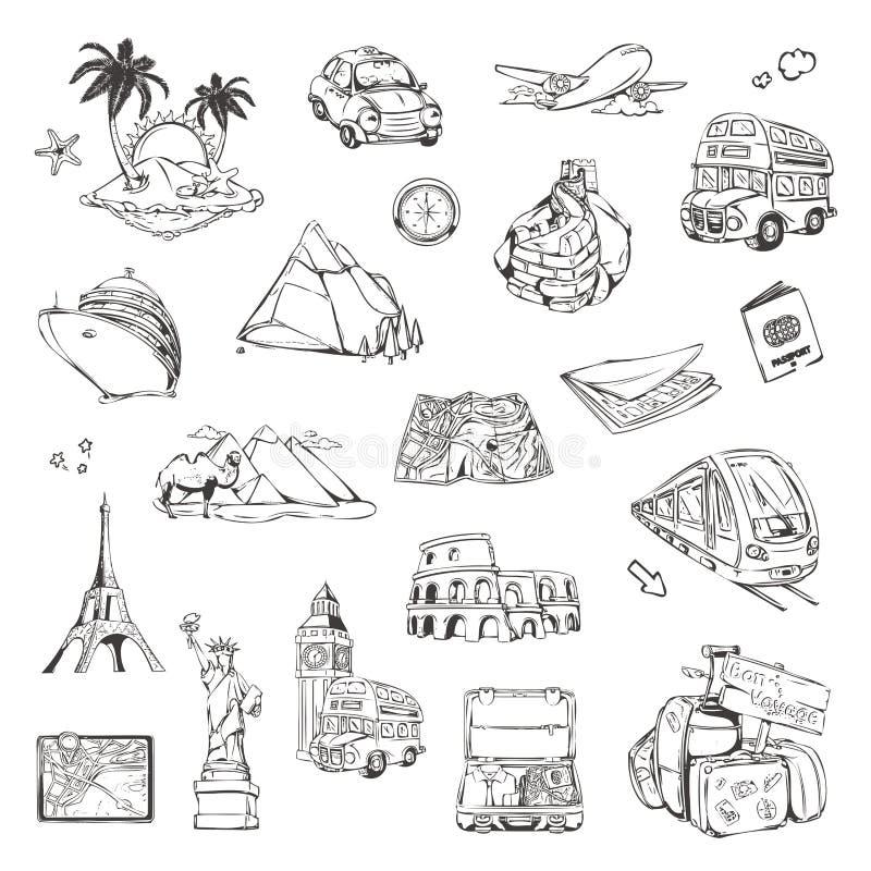 Loppet skissar av vektorsymboler stock illustrationer