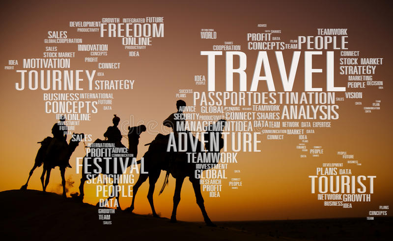 Loppet undersöker globalt begrepp för destinationsturaffärsföretag arkivbilder