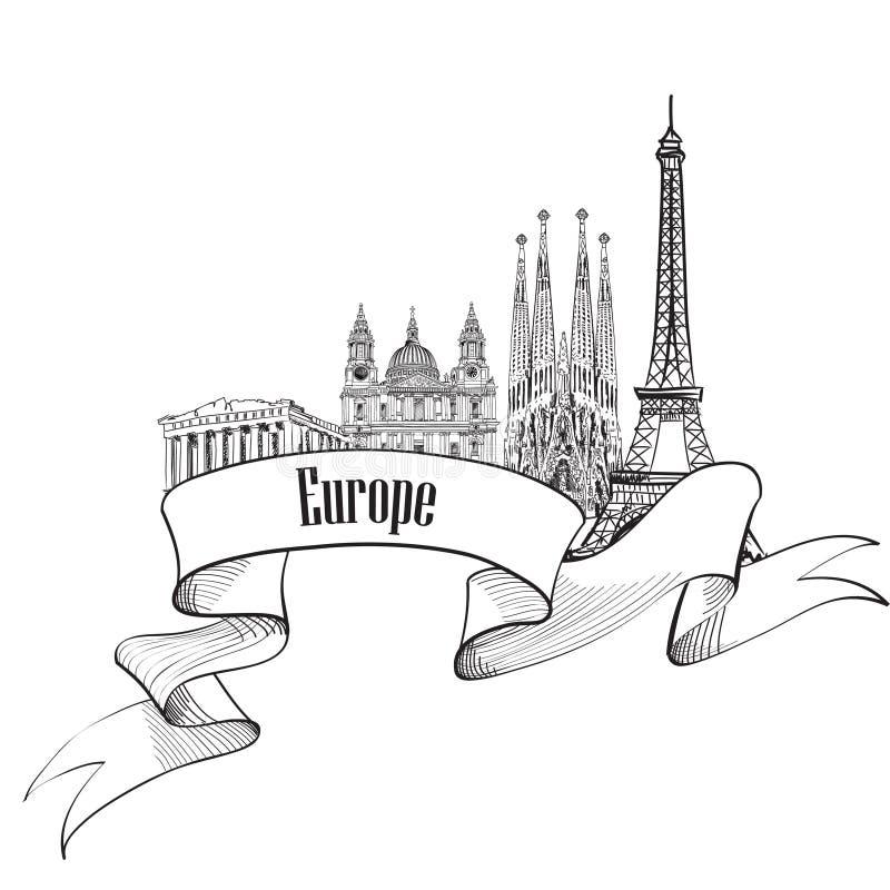 LoppEuropa etikett Berömda byggnader och gränsmärken Eouropean c royaltyfri illustrationer