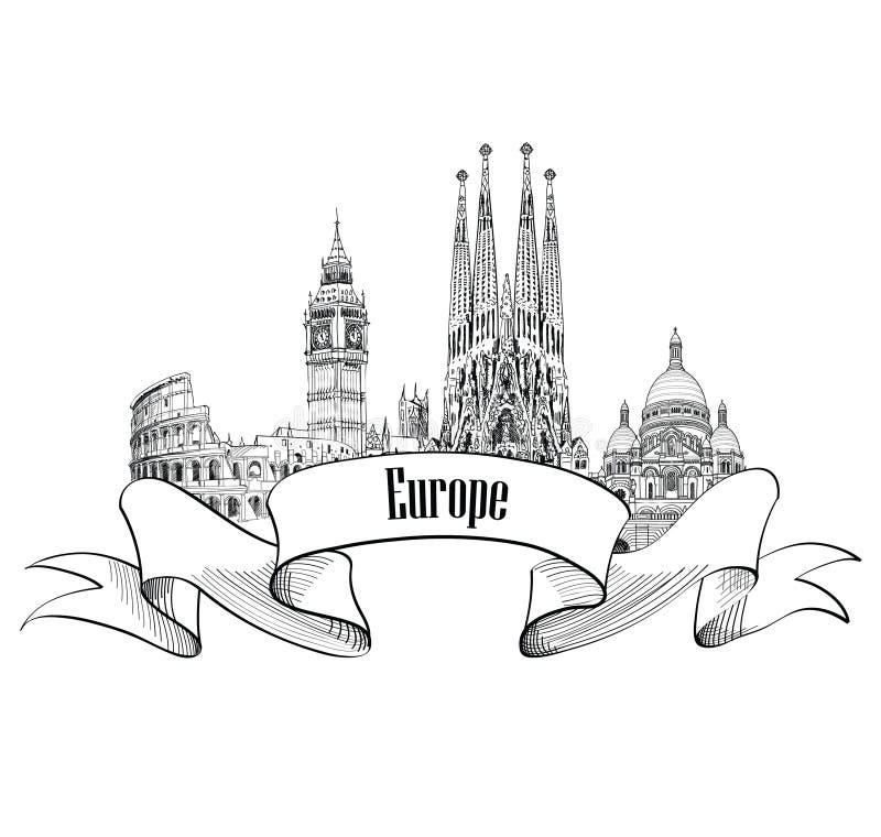 LoppEuropa etikett Berömda byggnader och gränsmärken Eouropean c stock illustrationer