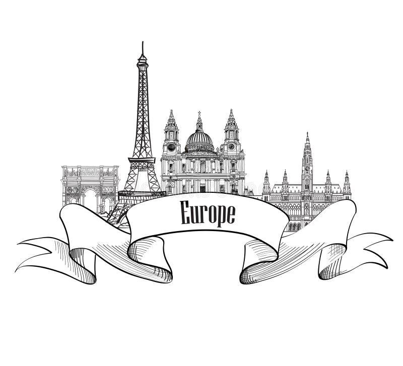 LoppEuropa etikett Berömda byggnader och gränsmärken Europé ca royaltyfri illustrationer