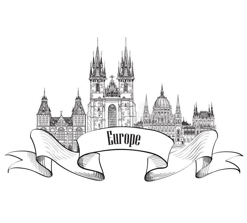LoppEuropa etikett Berömda byggnader och gränsmärken Europé ca vektor illustrationer