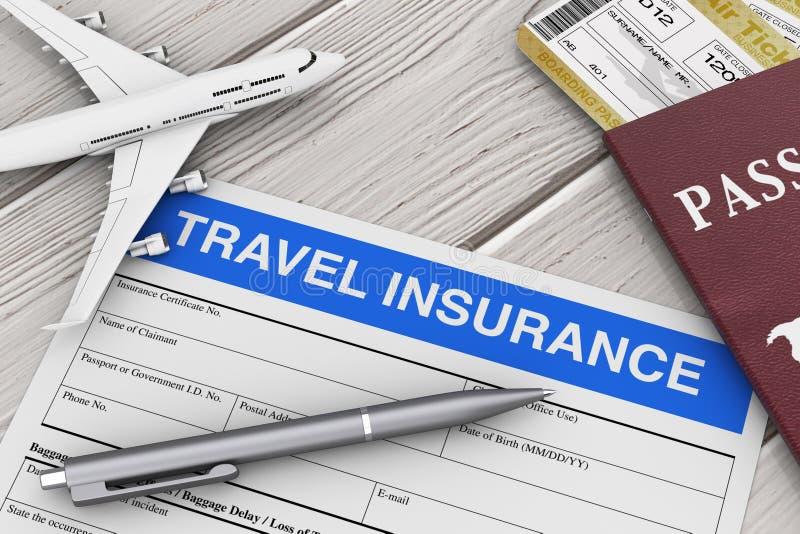 Loppförsäkringform nära flygplanmodell, pass och flygbiljetter på en trätabell framförande 3d vektor illustrationer