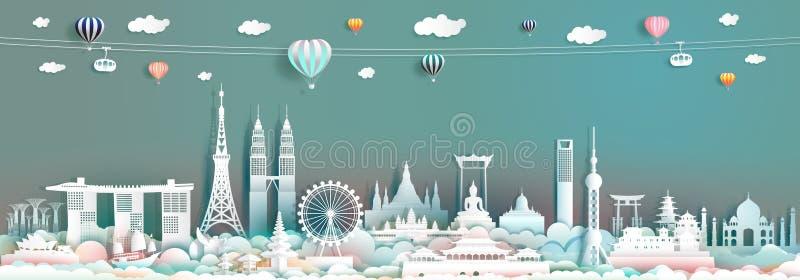 Loppgränsmärke Asien med i stadens centrum cityscapehorisont och ASEAN-turism royaltyfria bilder