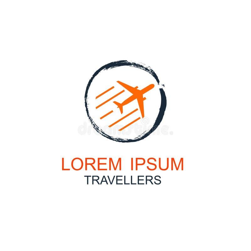 Lopplogo, ferier, turism, design f?r logo f?r f?retag f?r aff?rstur, vektorillustration royaltyfri illustrationer