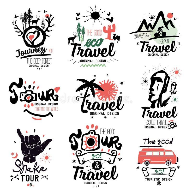 Lopplogo Turnera logoen Turist- handgjord logo Exotiskt tecken för sommarferie, symbol vektor illustrationer