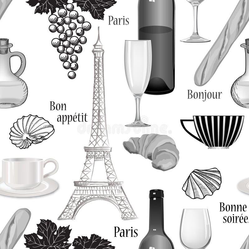 LoppParis sömlös modell Berömd fransk matbakgrund CU vektor illustrationer