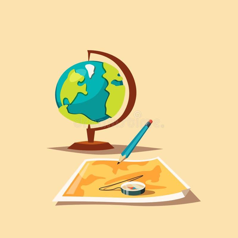 Loppplanläggning Översikt, jordklot och kompass den främmande tecknad filmkatten flyr illustrationtakvektorn stock illustrationer