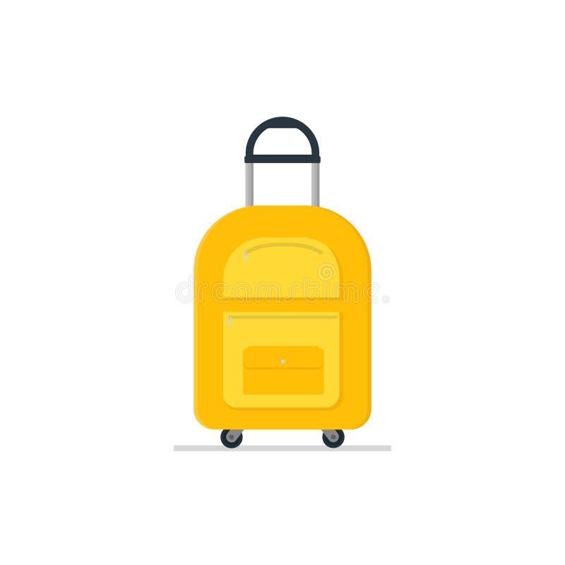 Loppresväska på hjul med det teleskopiska handtaget Turist- bagage Ljus gul torkdukepåse Bagage av handelsresanden Plan vektorsym royaltyfri illustrationer