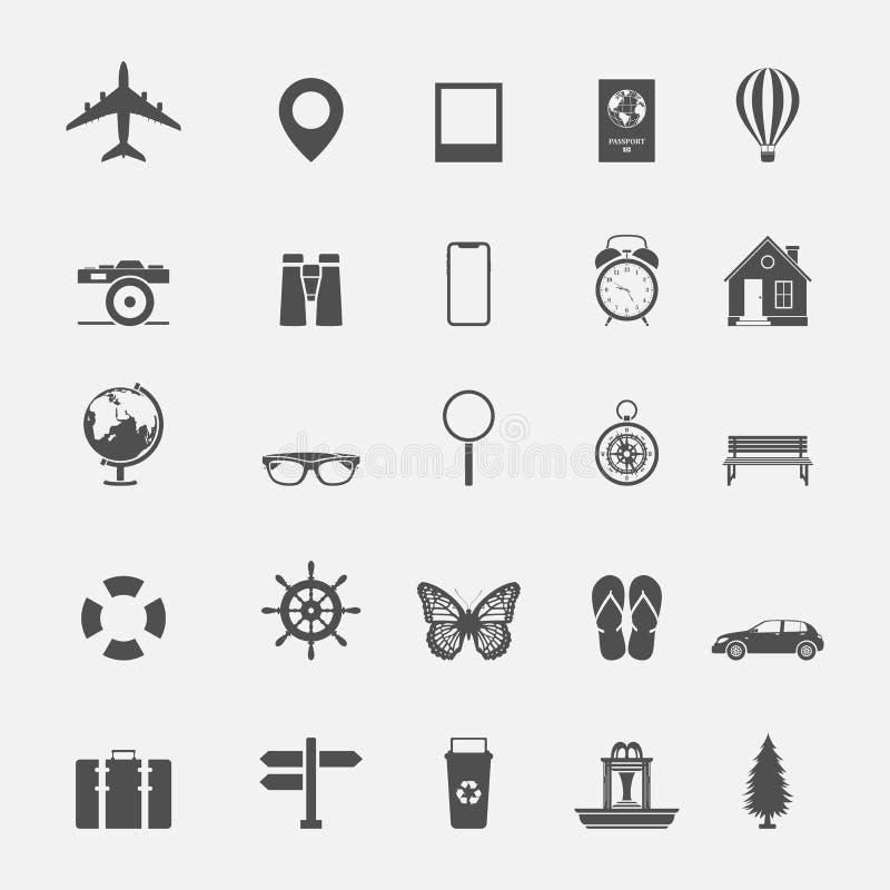 Loppsemestersymbol och teckensamling vektor illustrationer