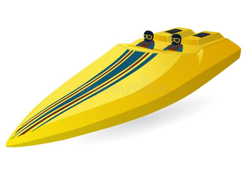 Loppsportfartyg Lyxig dyr gul motorbåt, lyx- snabb motorbåt vektor illustrationer