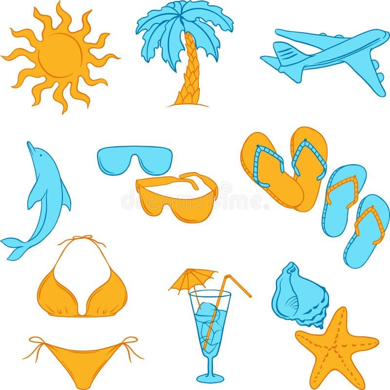 Loppuppsättning av symboler för handattraktionturism royaltyfri illustrationer