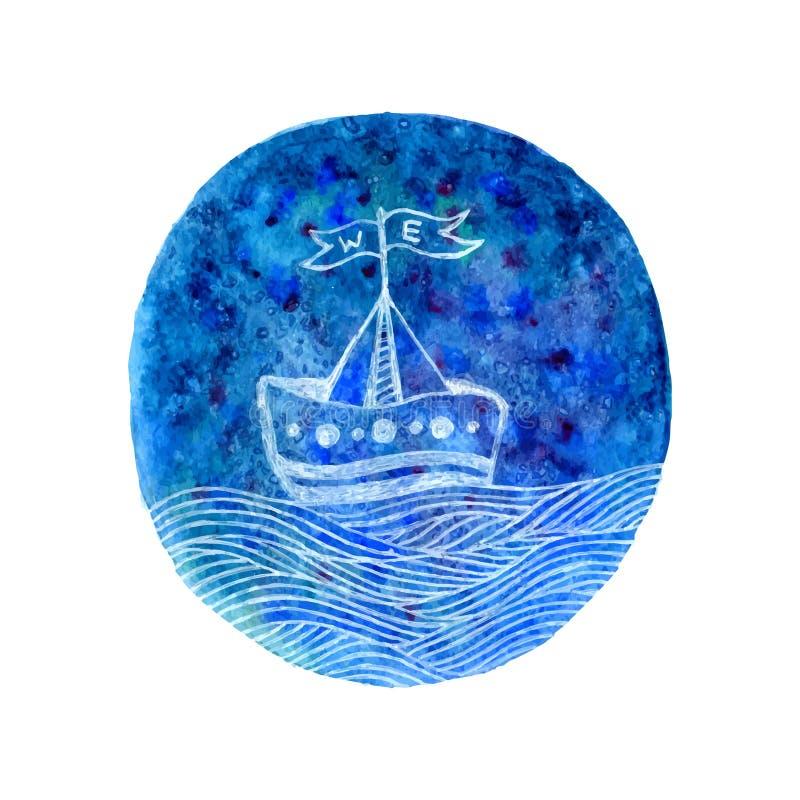 Loppvattenfärgbakgrund Nautisk design för hav med skeppet Den drog handen skissar vektorillustrationen stock illustrationer