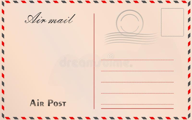 Loppvykortvektor i flygpoststil med pappers- textur och royaltyfri illustrationer