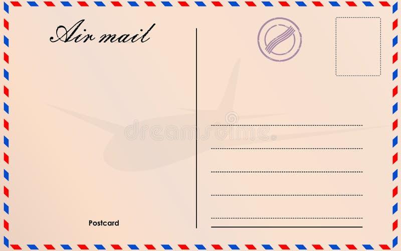 Loppvykortvektor i flygpoststil med pappers- textur och rubber stämplar stock illustrationer