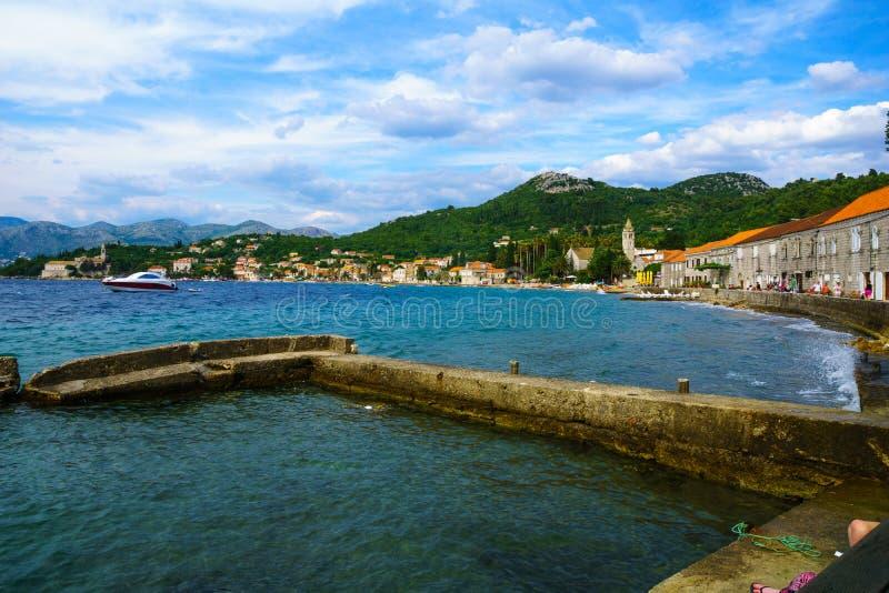 Lopud port i plaża obrazy royalty free