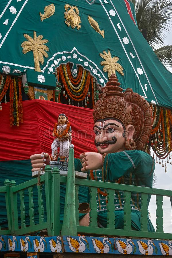 Lord Balabhadra's Chariot: Taladhwaja canopy color : green and red in Jagannath Rath Yatra puri. 24-jul-2007-charioteer is known as Matali Lord Balabhadra royalty free stock photos