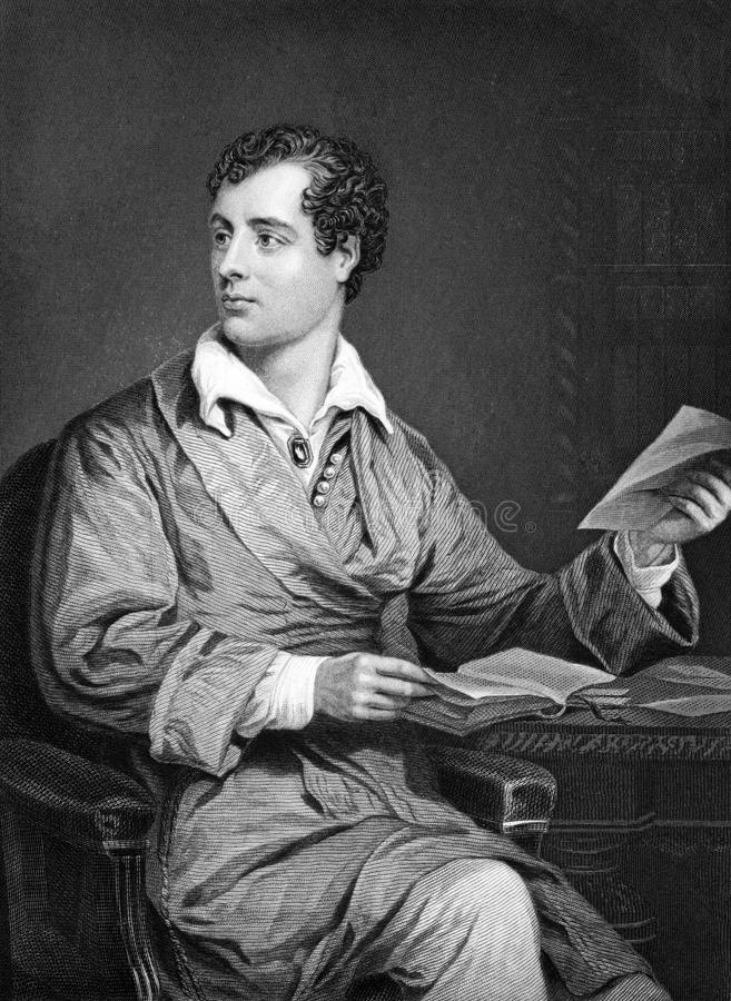 Lord Byron. (1788-1824) on engraving from 1873. One of the greatest British poets and leading figures in the Greek war of independence against the Ottoman royalty free stock image
