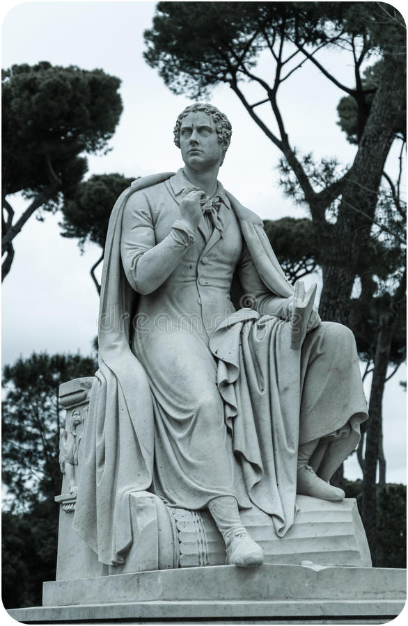 Lord Byron sculpture. Full-length statue of the English poet Lord Byron in Rome, Italy stock photos