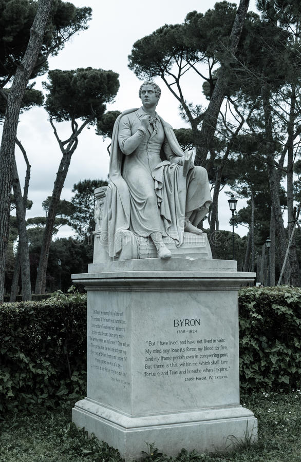 Lord Byron statue. Full-length statue of the English poet Lord Byron in Rome, Italy stock images