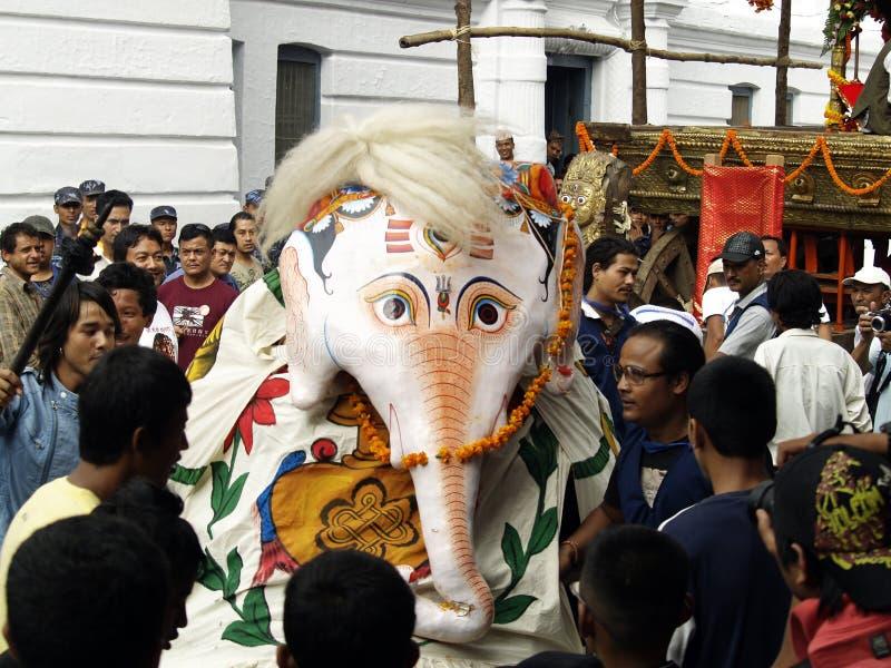 Lord Ganesh dancing in Indra Jatra royalty free stock photo