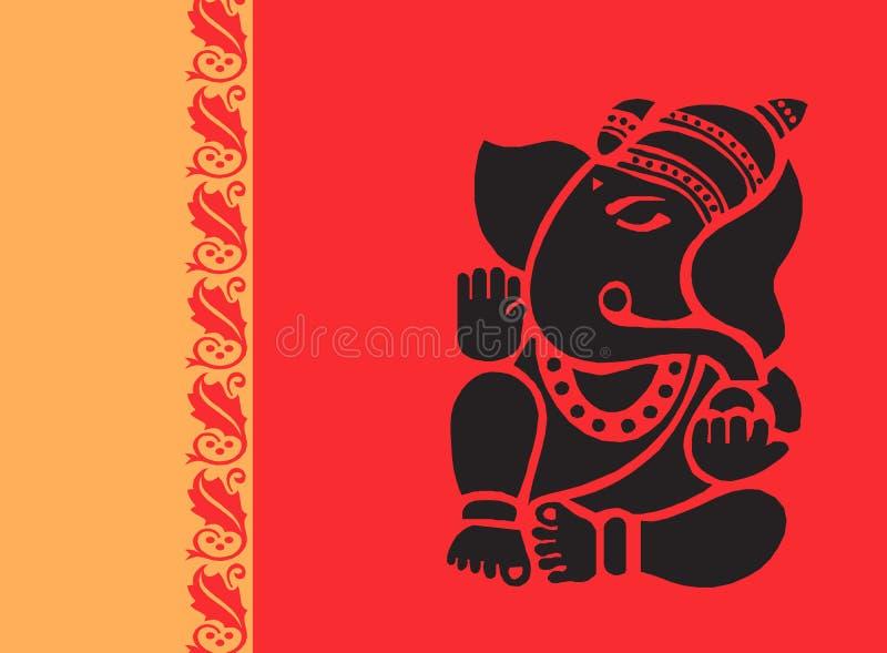 Lord Ganesh in der roten Strahlung vektor abbildung