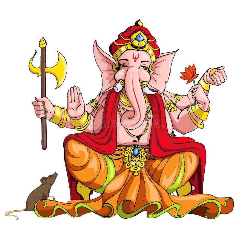 Lord Ganesha stock illustrationer