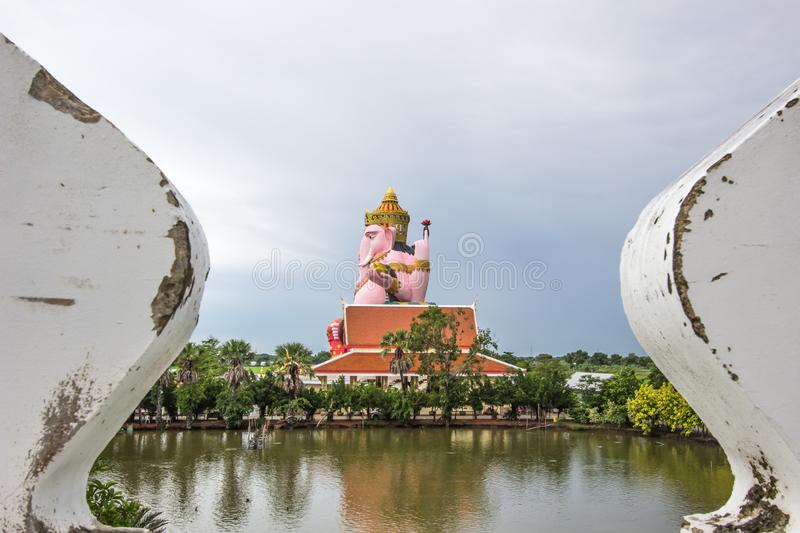 Chachoengsao Province,Thailand on June9,2018:Large statue of Lord Ganesha at Prong Arkad Temple in Amphoe Bang Nam Priao stock photo