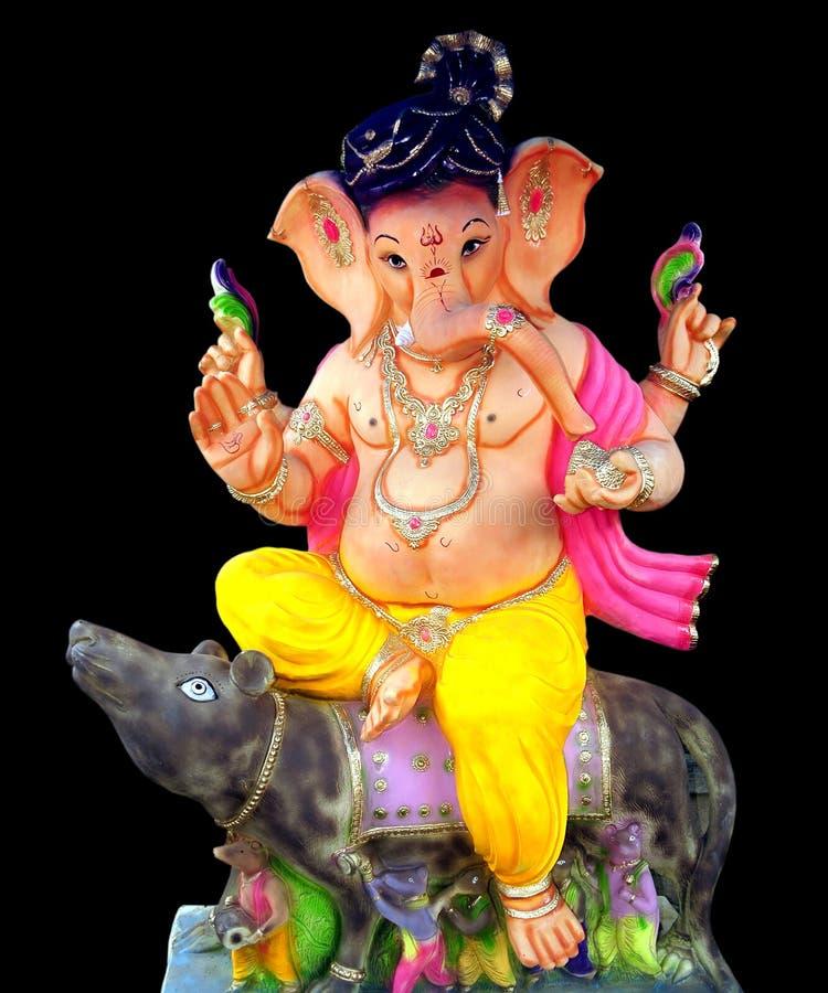 Lord Ganesha, das auf Maus sitzt lizenzfreies stockfoto